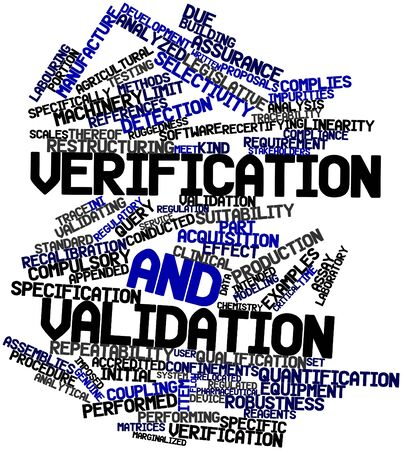 Abstract word cloud for Verification and validation with related tags and terms Stock Photo - 17320251