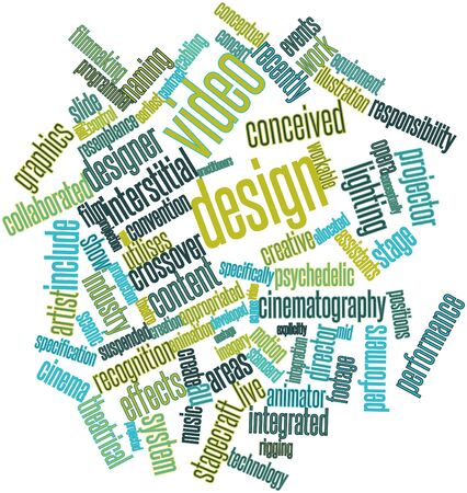 explicitly: Abstract word cloud for Video design with related tags and terms Stock Photo