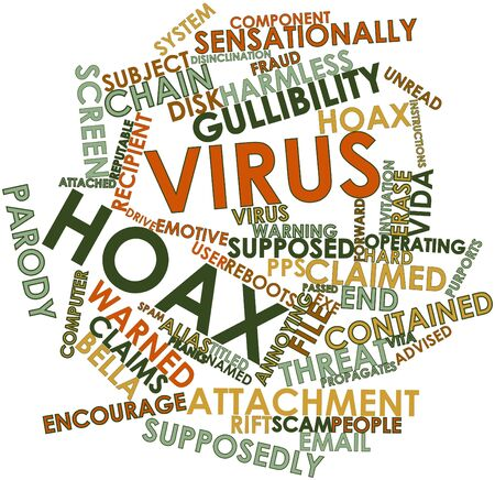 originate: Abstract word cloud for Virus hoax with related tags and terms