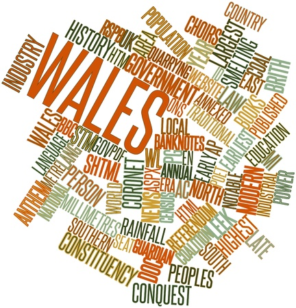 names: Abstract word cloud for Wales with related tags and terms