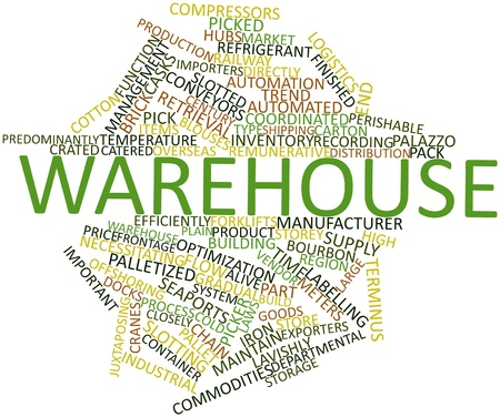 Abstract word cloud for Warehouse with related tags and terms photo