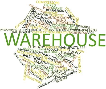 Abstraktes Wort-Wolke für Warehouse mit verwandten Tags und Begriffe Lizenzfreie Bilder
