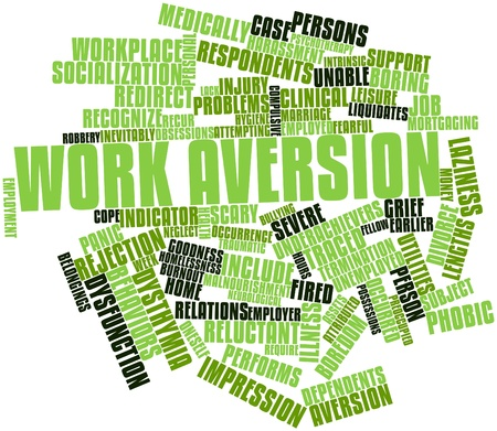 mortgaging: Abstract word cloud for Work aversion with related tags and terms