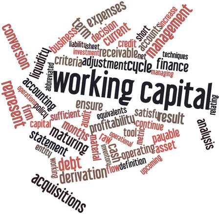 receivable: Abstract word cloud for Working capital with related tags and terms