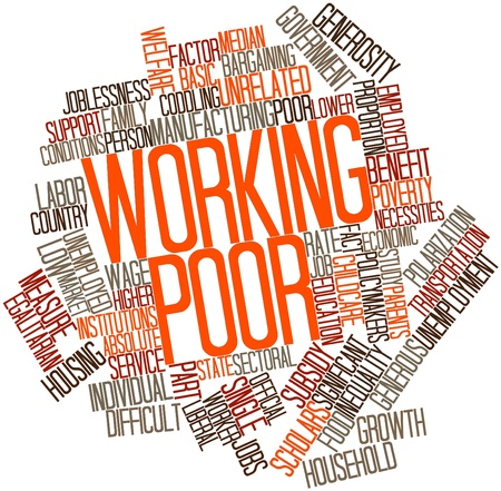 poor children: Abstract word cloud for Working poor with related tags and terms Stock Photo
