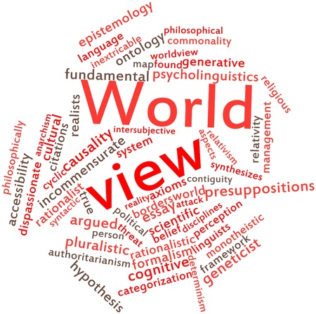Abstract word cloud for World view with related tags and terms Stock Photo