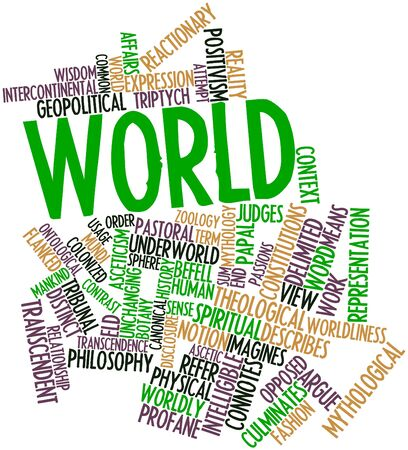 Abstract word cloud for World with related tags and terms photo