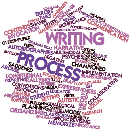 grammatical: Abstract word cloud for Writing process with related tags and terms Stock Photo