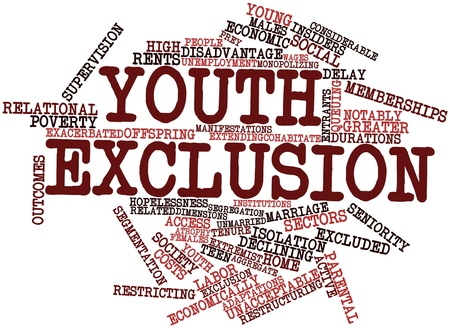 reaches: Abstract word cloud for Youth Exclusion with related tags and terms Stock Photo