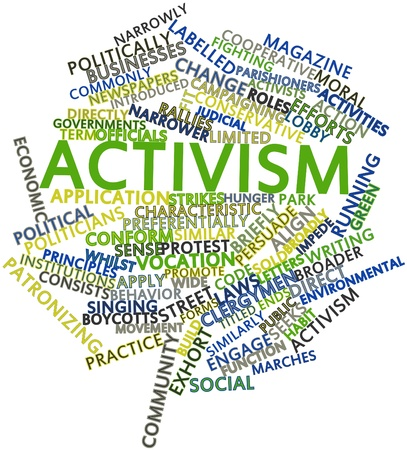 activists: Abstract word cloud for Activism with related tags and terms