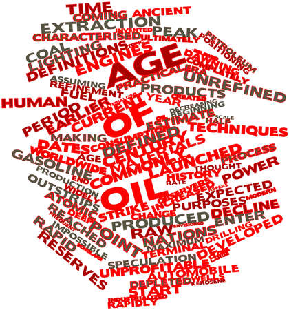 characterised: Abstract word cloud for Age of Oil with related tags and terms Stock Photo