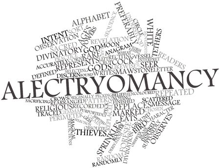observer: Abstract word cloud for Alectryomancy with related tags and terms