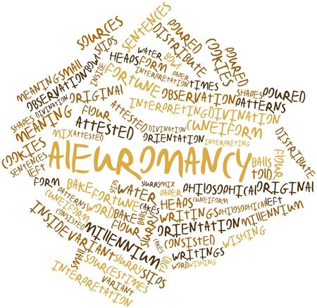 Abstract word cloud for Aleuromancy with related tags and terms Stock Photo