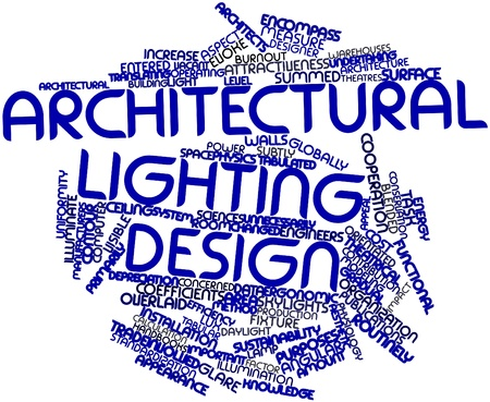 orientated: Abstract word cloud for Architectural lighting design with related tags and terms Stock Photo