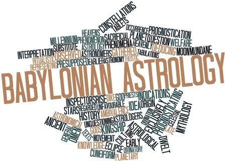 babylonian: Nube palabra abstracta para la astrolog�a babil�nica con etiquetas y t�rminos relacionados Foto de archivo