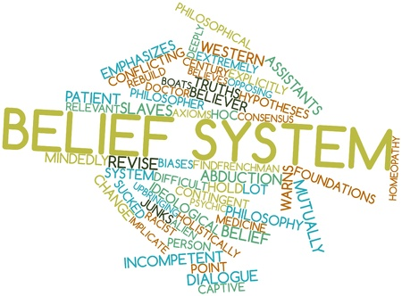 Abstract word cloud for Belief system with related tags and terms Stock Photo - 17351179