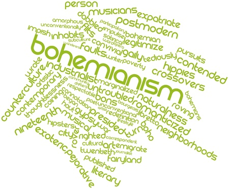 roving: Abstract word cloud for Bohemianism with related tags and terms