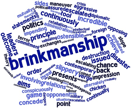 concede: Abstract word cloud for Brinkmanship with related tags and terms Stock Photo