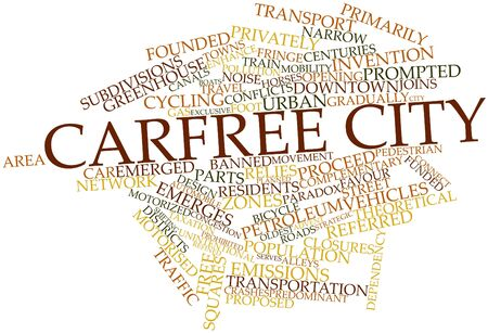 Abstract word cloud for Carfree city with related tags and terms