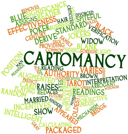 derive: Abstract word cloud for Cartomancy with related tags and terms Stock Photo