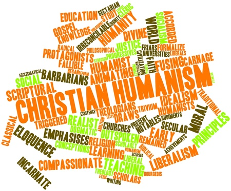 Abstract word cloud for Christian humanism with related tags and terms Stock Photo - 17352149