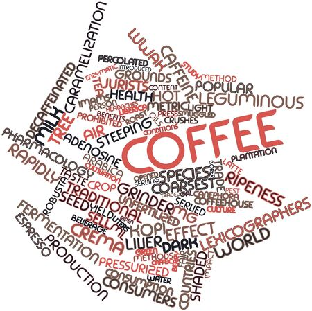 pressurized: Abstract word cloud for Coffee with related tags and terms Stock Photo