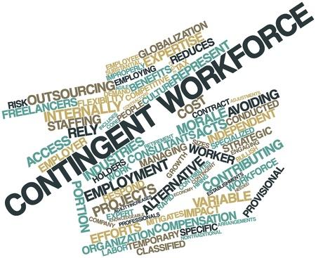 Nube palabra abstracta para la fuerza laboral contingente con las etiquetas y términos relacionados