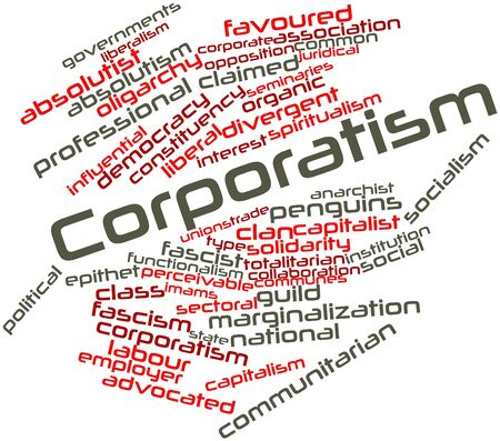 coercive: Abstract word cloud for Corporatism with related tags and terms