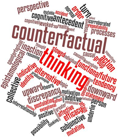 coping: Abstract word cloud for Counterfactual thinking with related tags and terms Stock Photo