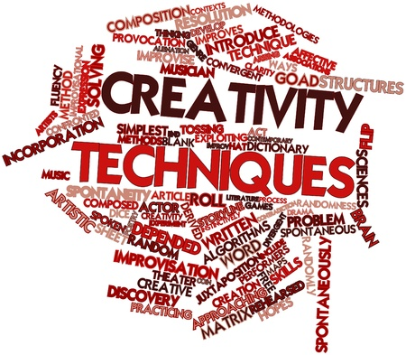 fluency: Abstract word cloud for Creativity techniques with related tags and terms