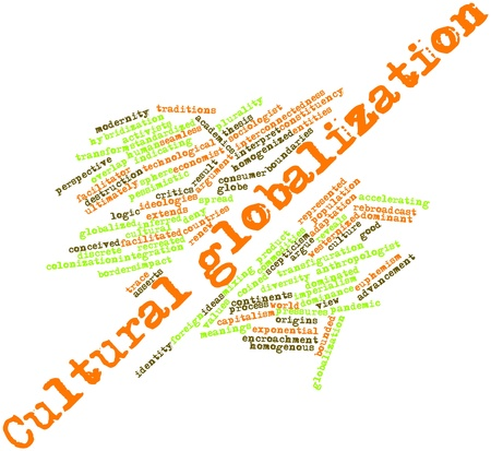関連タグと用語と文化のグローバル化のための抽象的な単語雲 写真素材