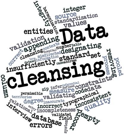 Abstraktes Wort-Wolke für Datenbereinigung mit verwandten Tags und Begriffe Lizenzfreie Bilder