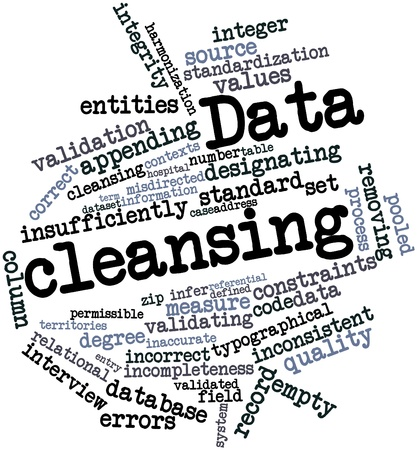 Abstract word cloud for Data cleansing with related tags and terms