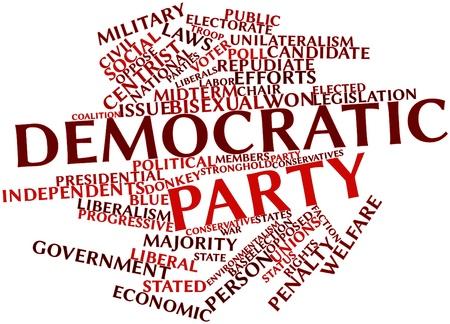 関連するタグと用語と民主党の抽象的な単語雲