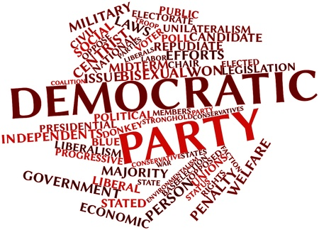 incumbent: Abstract word cloud for Democratic Party with related tags and terms
