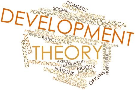 desarrollo económico: Nube de la palabra abstracta de la teoría de Desarrollo con las etiquetas y términos relacionados