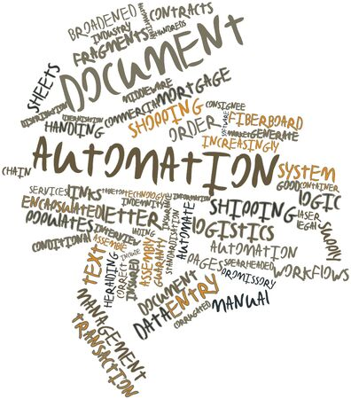 consignee: Abstract word cloud for Document automation with related tags and terms Stock Photo