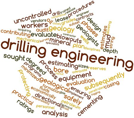 uncontrolled: Abstract word cloud for Drilling engineering with related tags and terms Stock Photo
