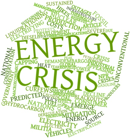 mitigate: Abstract word cloud for Energy crisis with related tags and terms Stock Photo