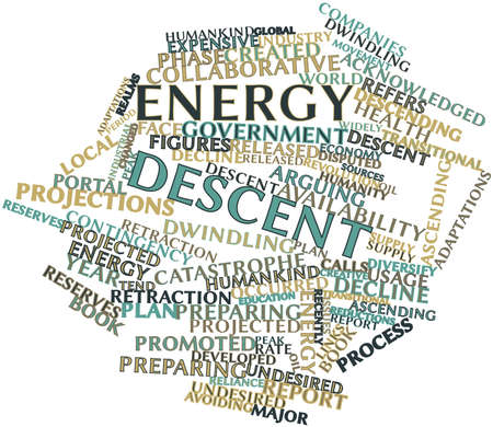 occurred: Abstract word cloud for Energy descent with related tags and terms Stock Photo