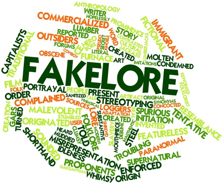 coined: Abstract word cloud for Fakelore with related tags and terms Stock Photo