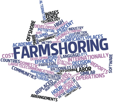 neighboring: Abstract word cloud for Farmshoring with related tags and terms Stock Photo
