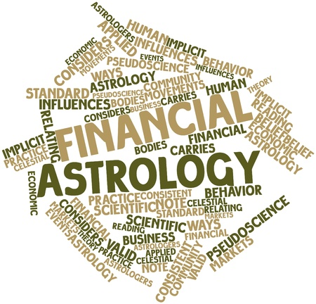 implicit: Abstract word cloud for Financial astrology with related tags and terms Stock Photo