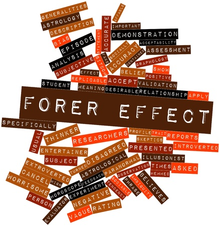 introverted: Abstract word cloud for Forer effect with related tags and terms