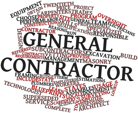 Abstract word cloud for General contractor with related tags and terms
