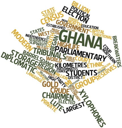 census: Abstract word cloud for Ghana with related tags and terms
