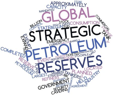 approximately: Abstract word cloud for Global strategic petroleum reserves with related tags and terms Stock Photo