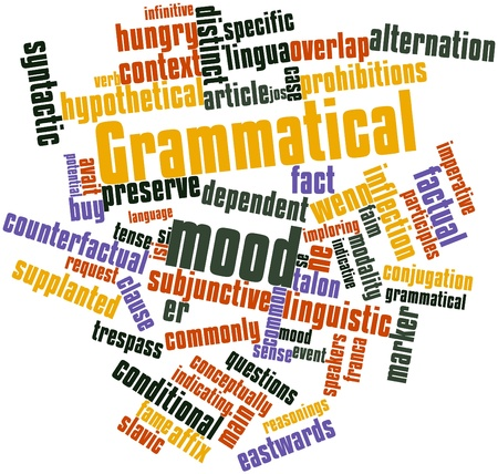 grammatical: Abstract word cloud for Grammatical mood with related tags and terms Stock Photo