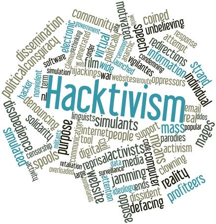 Abstract woordwolk voor Hacktivisme met gerelateerde tags en voorwaarden