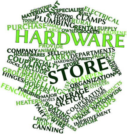 hinges: Abstract word cloud for Hardware store with related tags and terms Stock Photo